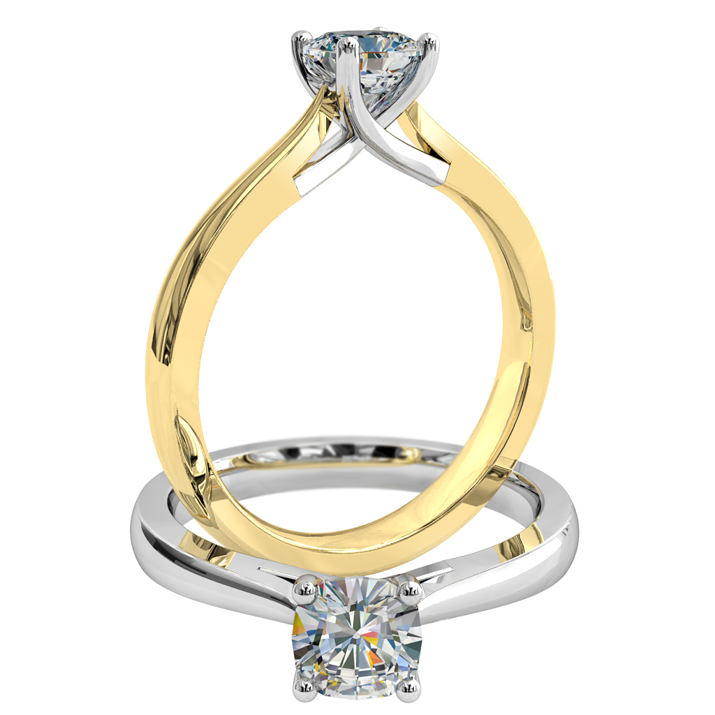 Cushion Cut Solitaire Diamond Engagement Ring, 4 Claws with an Undersweep Setting.