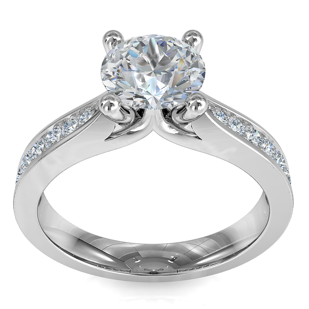 Round Brilliant Cut Solitaire Diamond Engagement Ring, 4 Button Claws Set on a Wide Pinched Bead Set Band.