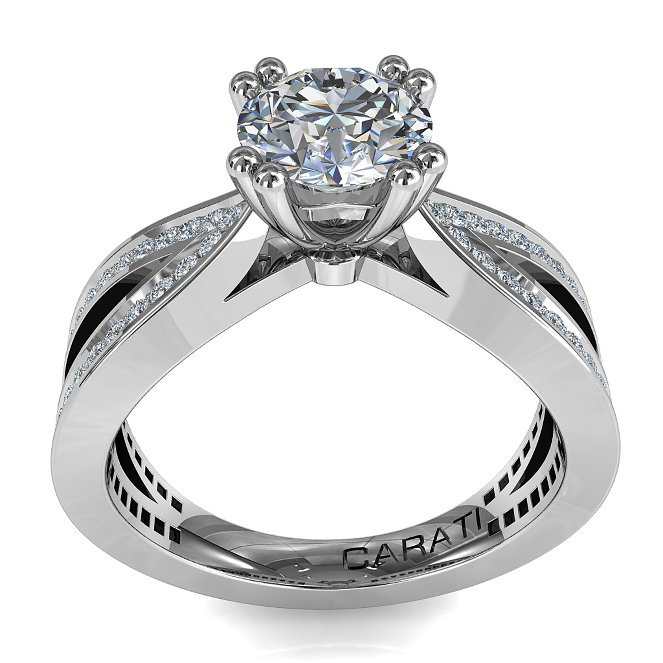 Round Brilliant Cut Diamond Solitaire Engagement Ring, 4 Double Claw Set on a Bead Set Bow Shaped Band.