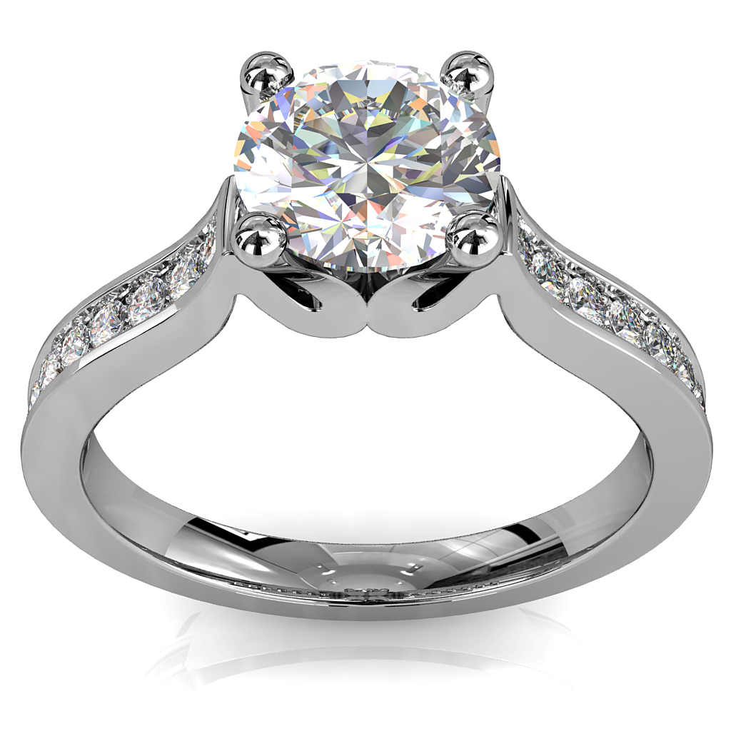 Round Brilliant Cut Solitaire Diamond Engagement Ring, 4 Button Claws Set on a Straight Bead Set Band with Wave Undersetting