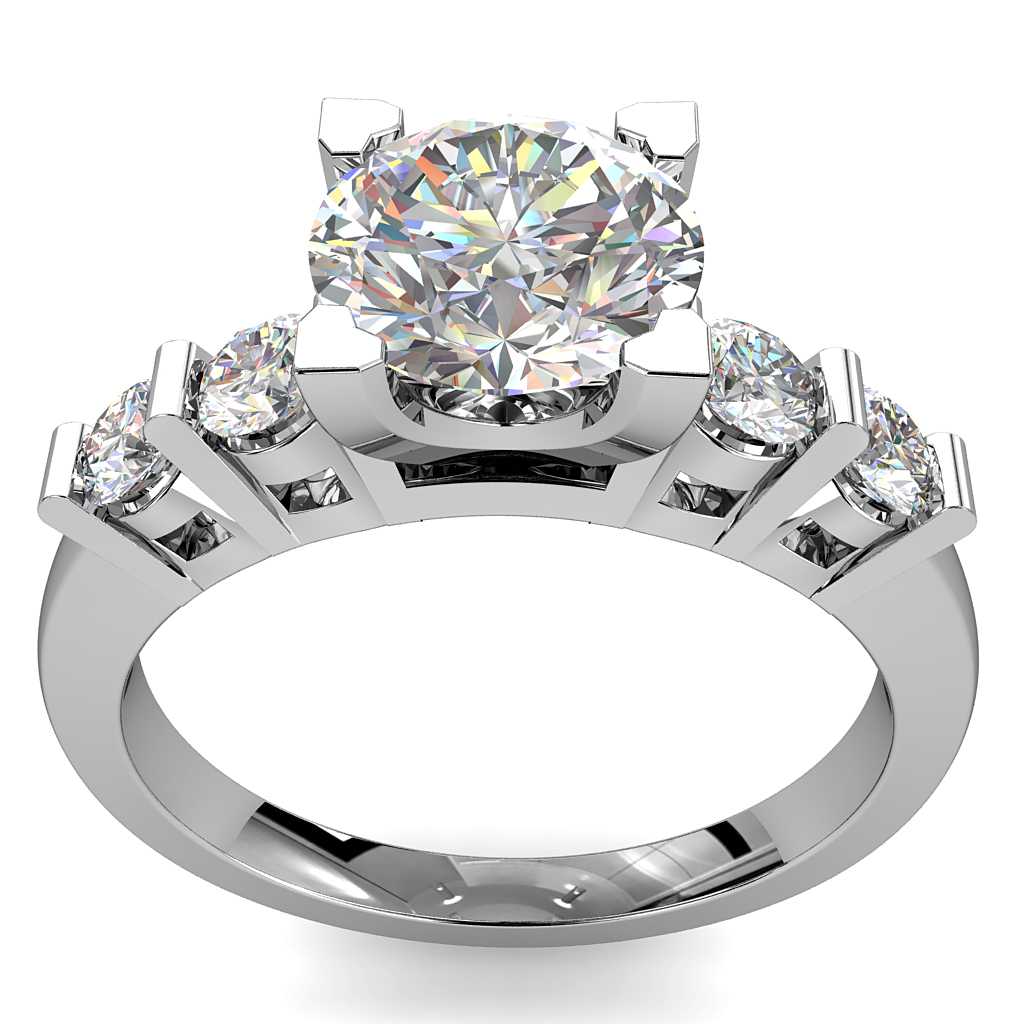 Round Brilliant Cut Solitaire Diamond Engagement Ring, 4 Triangle Claws Set with Tension Set Side Stones.