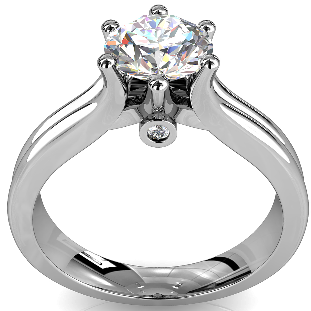 Round Brilliant Cut Solitaire Diamond Engagement Ring, 6 Button Claws Set on Double Rounded Band with Hidden Diamond Undersetting.