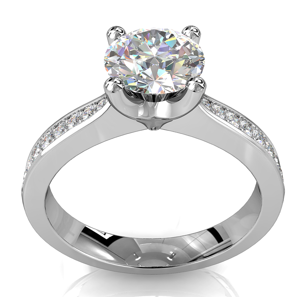 Round Brilliant Cut Solitaire Diamond Engagement Ring, 4 Button Claws Set on aTapered Bead Set Band with Lotus Undersetting.