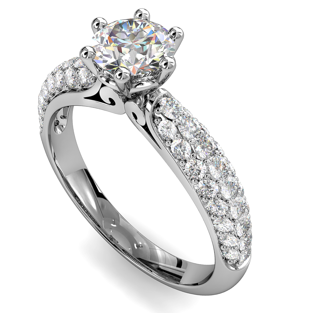 Round Brilliant Cut Solitaire Diamond Engagement Ring, 6 Claws Set on Three Row Pavé Dome Band with Scrolled Undersetting.