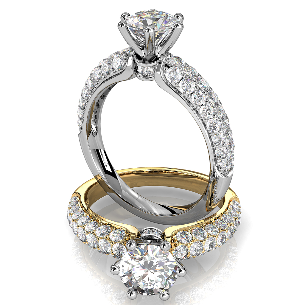 Round Brilliant Cut Solitaire Diamond Engagement Ring, 6 Claws Set on Tapered Three Row Pavé Band with Diamond Circle Undersetting.