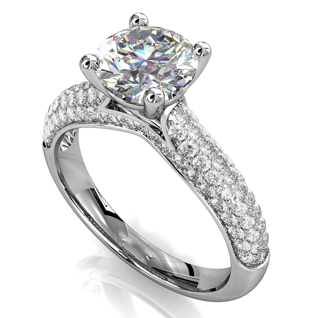 Round Brilliant Cut Solitaire Diamond Engagement Ring, 4 Claws Set on Four Row Pavé Band with Diamond Outer Band Details.