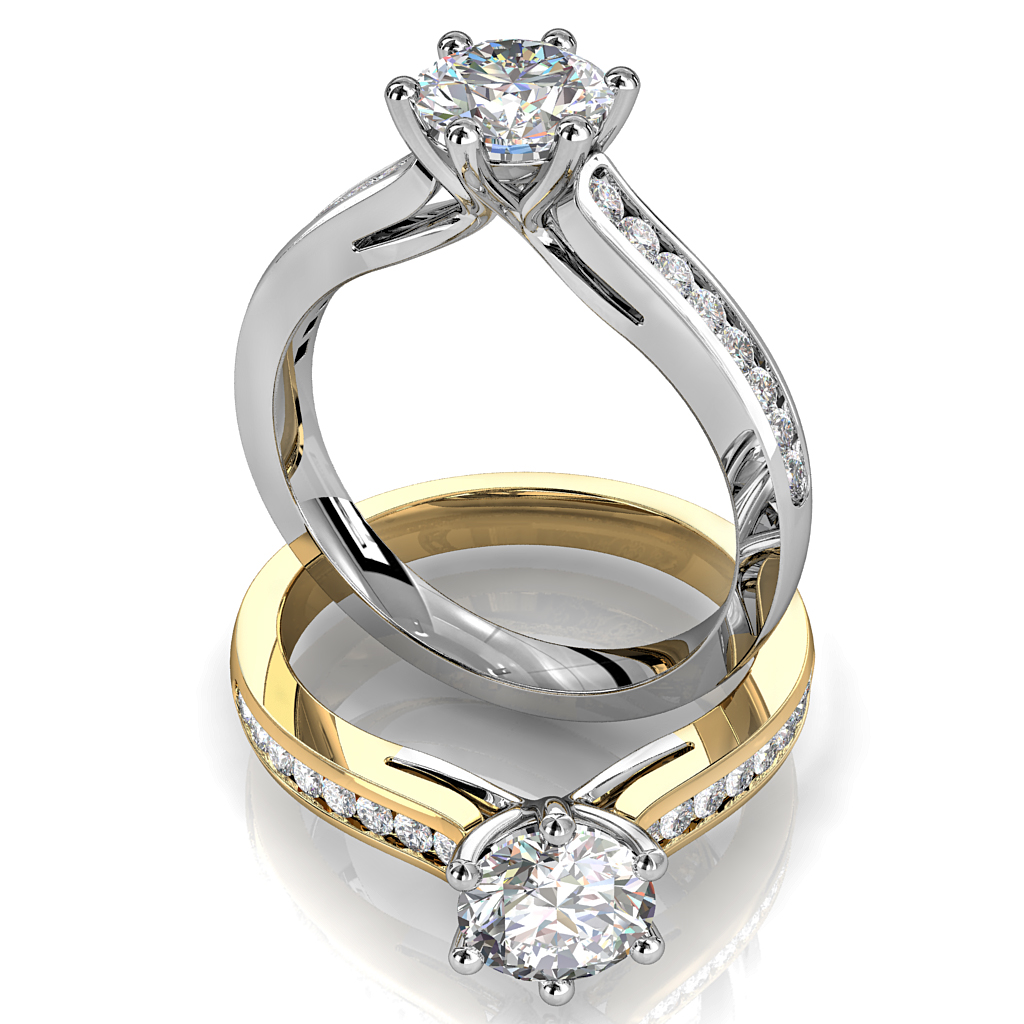 Round Brilliant Cut Solitaire Diamond Engagement Ring, 6 Button Claws Set on Straight Channel Set Band with Fountain Undersetting.