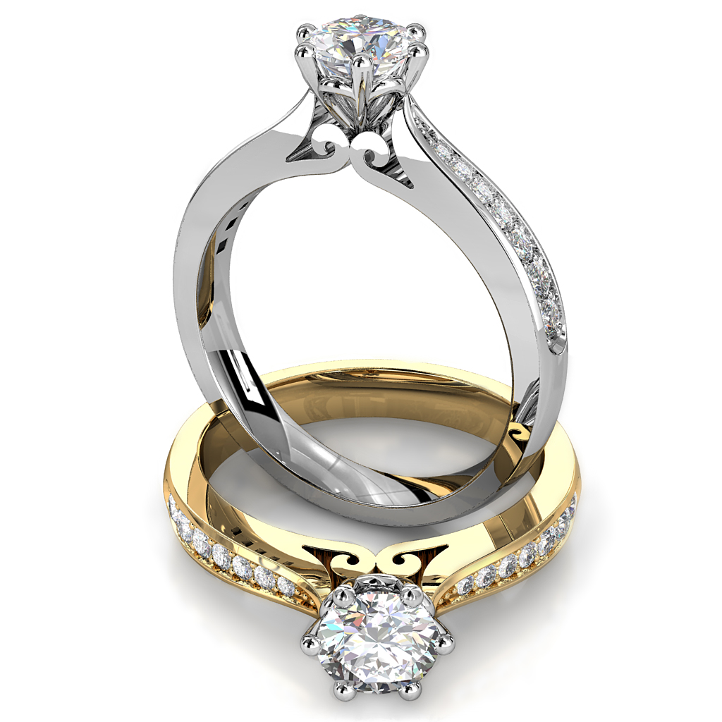 Round Brilliant Cut Solitaire Diamond Engagement Ring, 6 Claws Set on Tapered Bead Set Band with Loop Undersetting Details.
