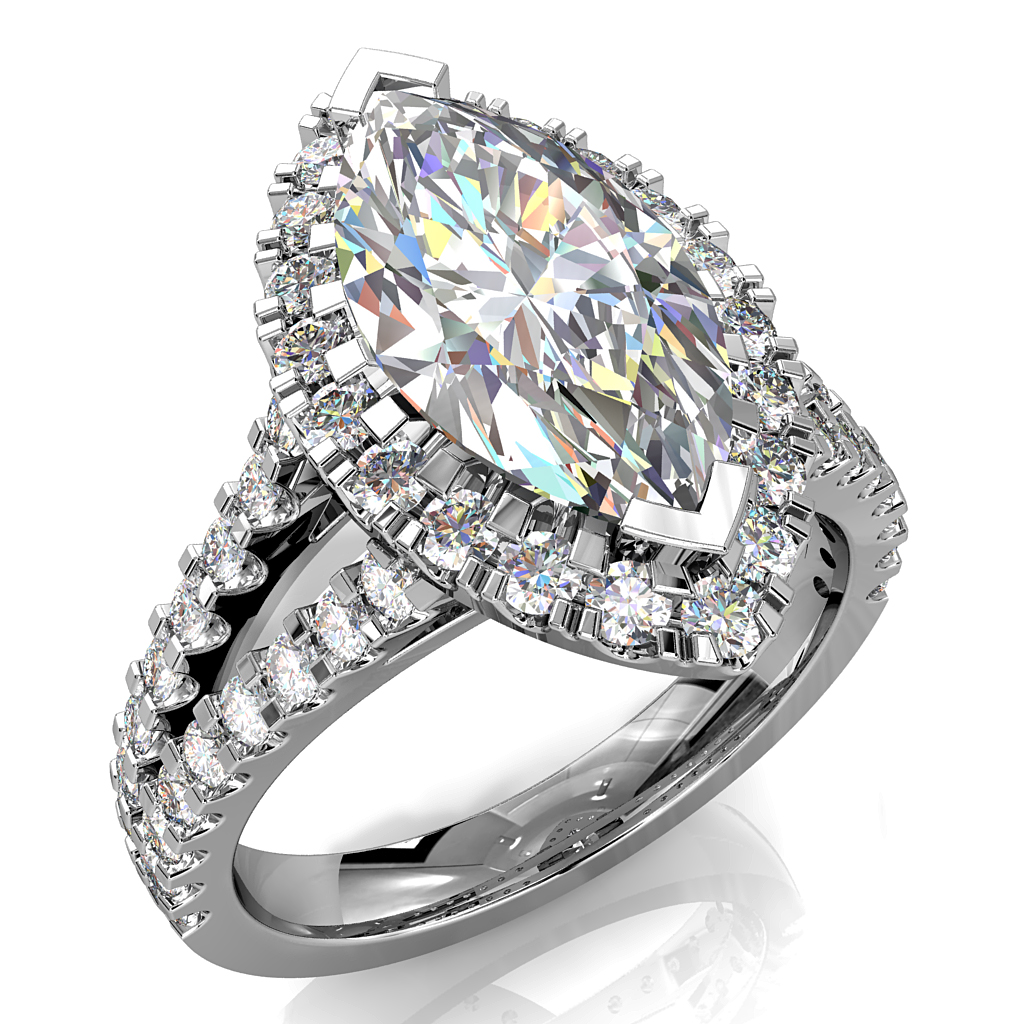 Round Brilliant Cut Diamond Halo Engagement Ring, 4 Double Claws Set in a Thin Cut Claw Halo on a Split Cut Claw Band with Diamond Set Underrails.