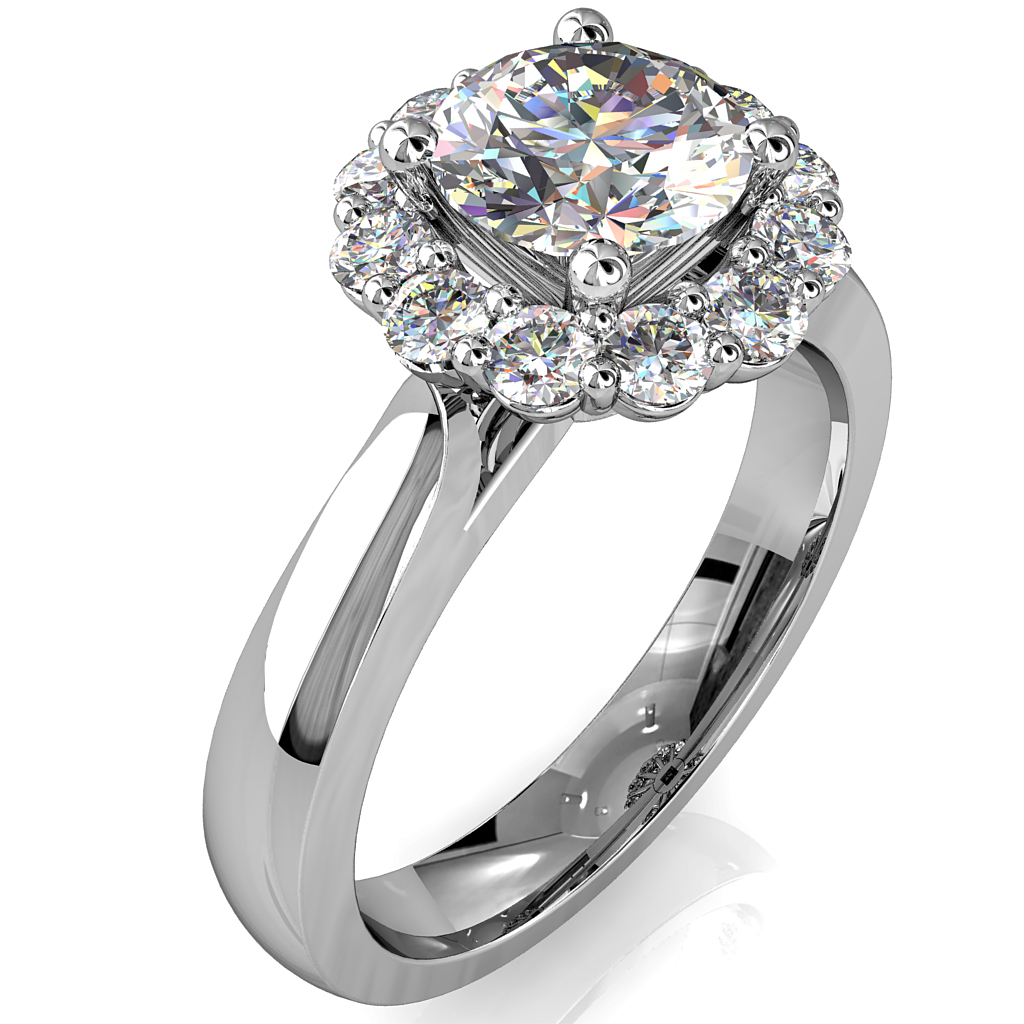 Round Brilliant Cut Halo Diamond Engagement Ring, 4 Button Claws Set in a Cup Cut Claw Halo on Wide Plain Tapered Band with Wire Basket Undersetting.