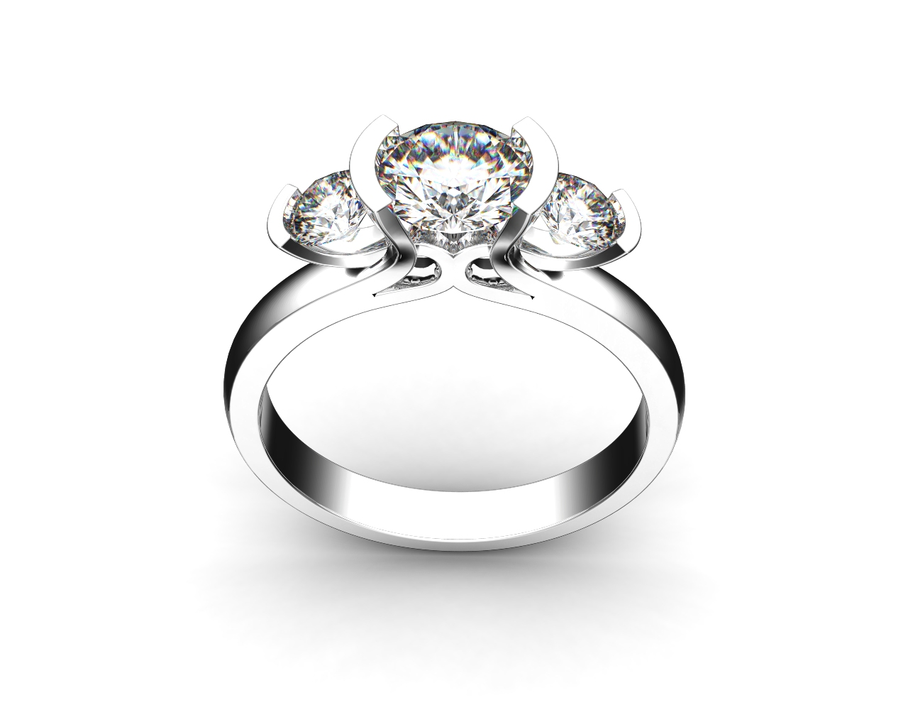Round Brilliant Cut Diamond Trilogy Engagement Ring, Semi Bezel Tension Set Stones with a Fountain Undersetting.