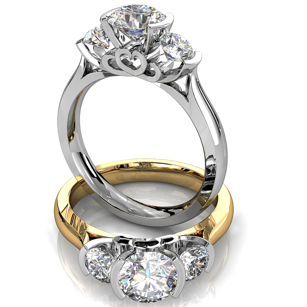 Round Brilliant Cut Diamond Trilogy Engagement Ring, Semi Bezel Tension Set with a Heart Undersetting.