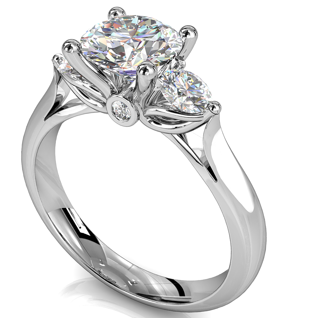 Round Brilliant Cut Diamond Trilogy Engagement Ring, Centre 4 Claw Set with 3 Claw Set Side Stones with a Lotus and Hidden Diamond Undersetting.