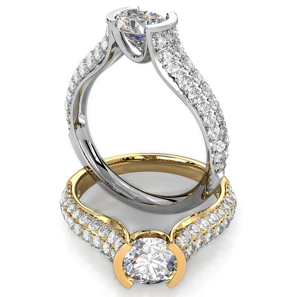Round Brilliant Cut Diamond Solitaire Engagement Ring, Semi Bezel Tension Set on a Reverse Tapered Pave Band.