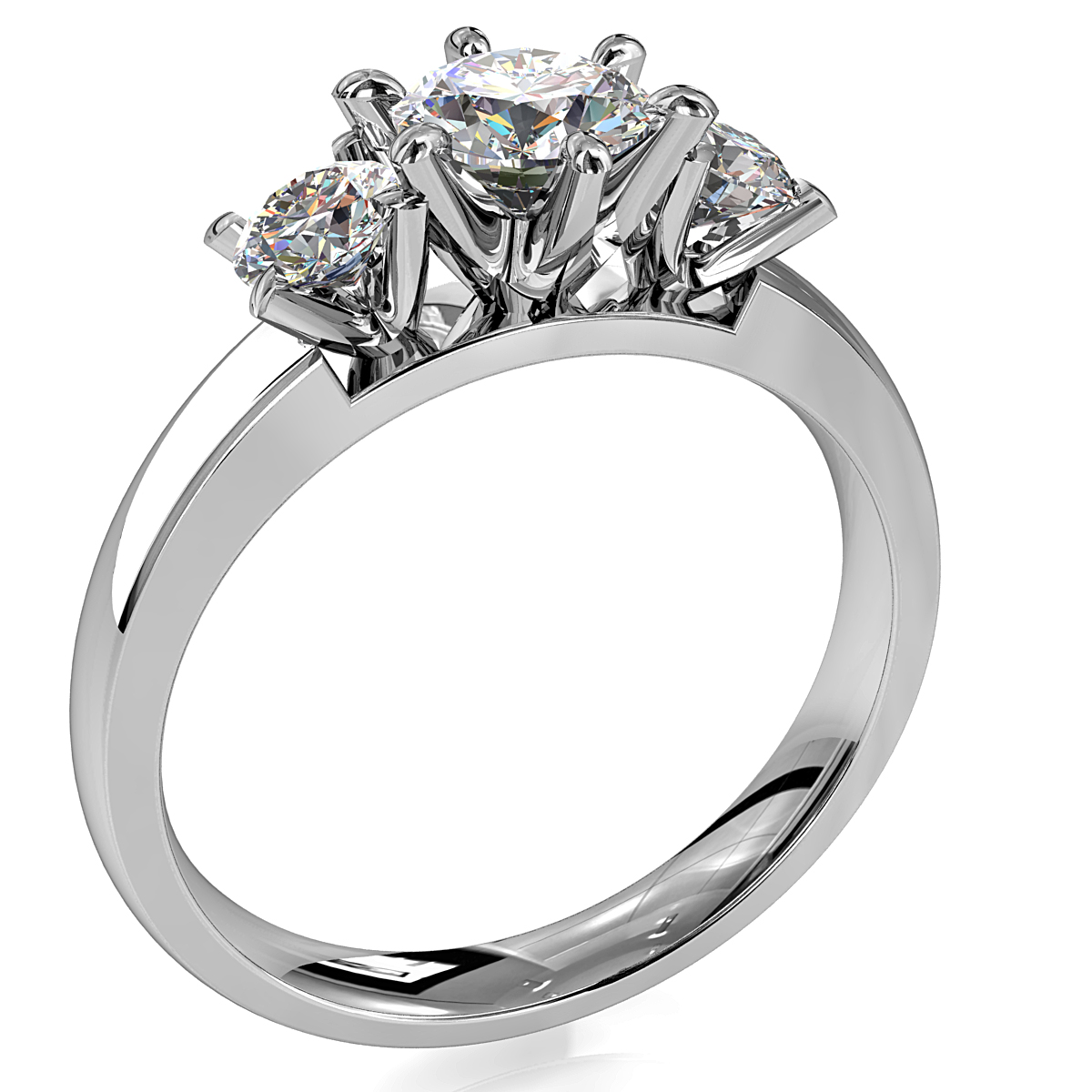 Round Brilliant Cut Diamond Trilogy Engagement Ring, Centre 6 Claw Set with 4 Claw Set Pear Side Stones with a Classic Crown Setting.