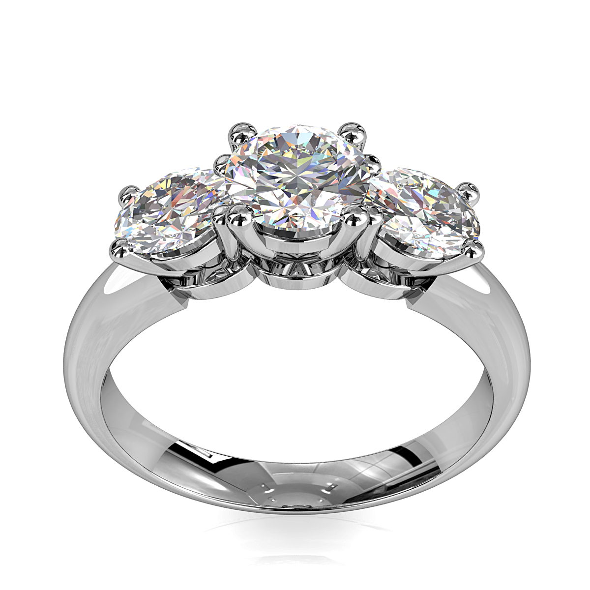 Round Brilliant Cut Diamond Trilogy Engagement Ring, Stones 4 Claw Set on a Rounded Band with Classic Crown Undersetting.