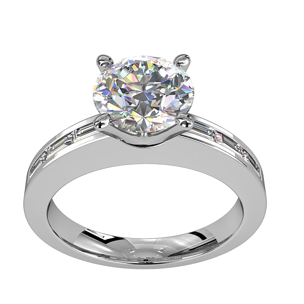 Round Brilliant Cut Solitaire Diamond Engagement Ring, 4 Pear Shaped Claws Set on a Baguette Channel Set Band.