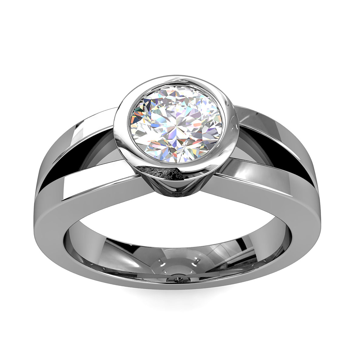 Round Brilliant Cut Solitaire Diamond Engagement Ring, Bezel Set on a Split Band with Solid Undersetting.