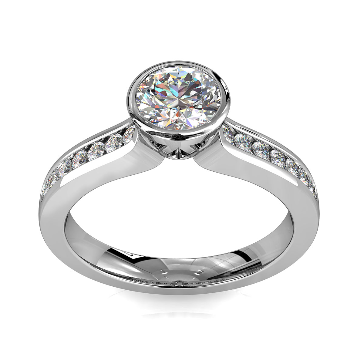 Round Brilliant Cut Diamond Solitaire Engagement Ring, Bezel Set on a Channel Set Band with Lotus Undersetting.