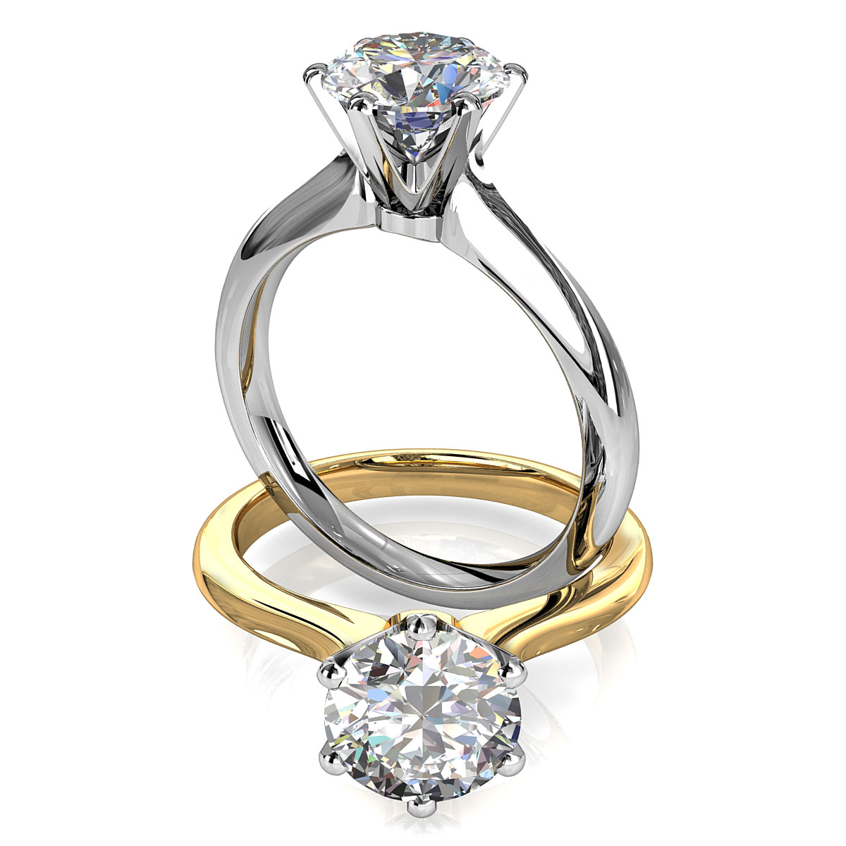 Round Brilliant Cut Solitaire Diamond Engagement Ring, 6 Fine Button Claws Set on Subtle Knife Edge Tapered Rounded Band with Crown Undersetting.