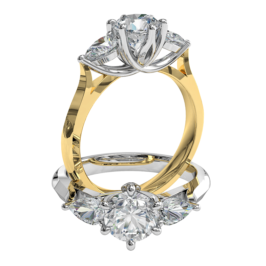 Round Brilliant Cut Diamond Trilogy Engagement Ring, Stones 6 Claw Set with Pear Side Stones and a Lotus Undersweep Setting.
