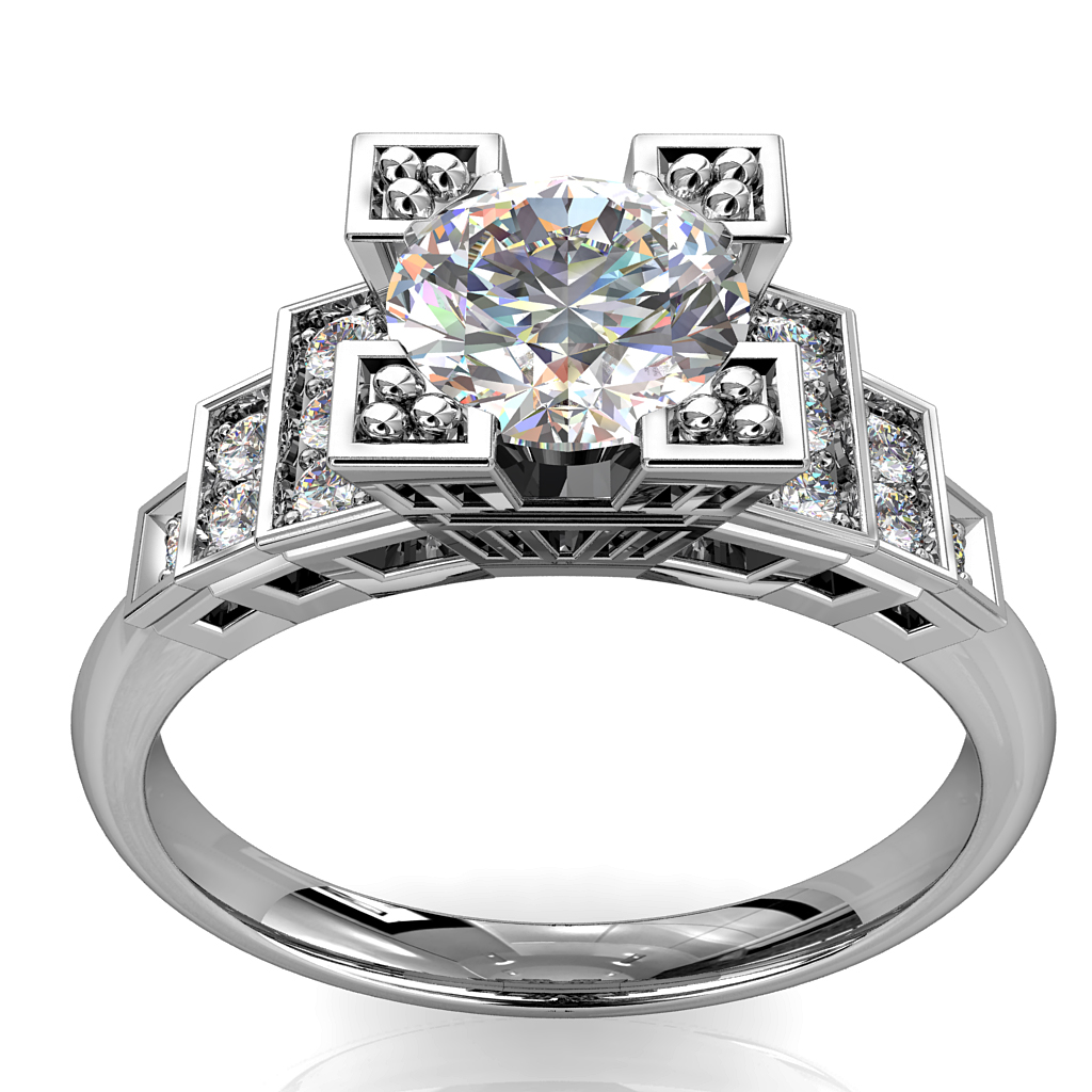 Round Brilliant Cut Diamond Solitaire Engagement Ring, 4 Triangle Milgrain Claws Set on an Art Deco Style Stepped Diamond Set Band.