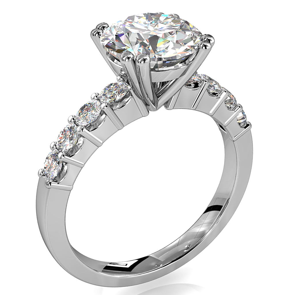 Round Brilliant Cut Solitaire Diamond Engagement Ring, 4 Double Claws Set on a Large Diamond Cut Claw Band with Classic Support Bar Undersetting.