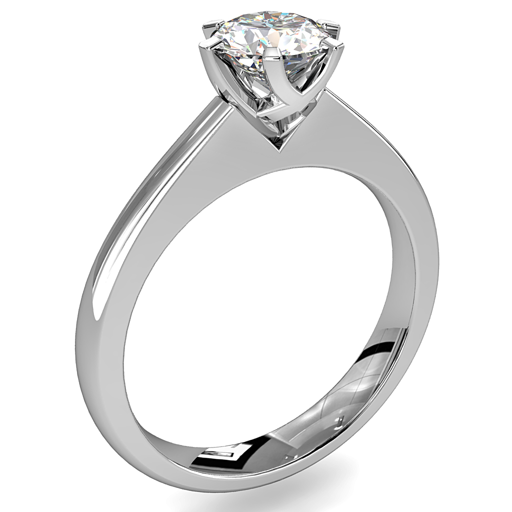 Round Brilliant Cut Solitaire Diamond Engagement Ring, 6 Fine Button Claws on a Tapred Thin Flat Band with a Weaved Underbasket.