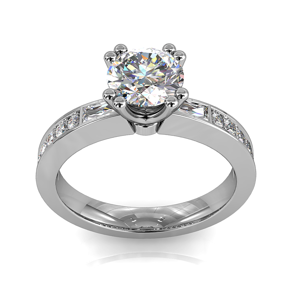 Round Brilliant Cut Solitaire Diamond Engagement Ring, 4 Double Claws Set with Baguette Side Stones on a Bead Set Band with Classic Undersetting.