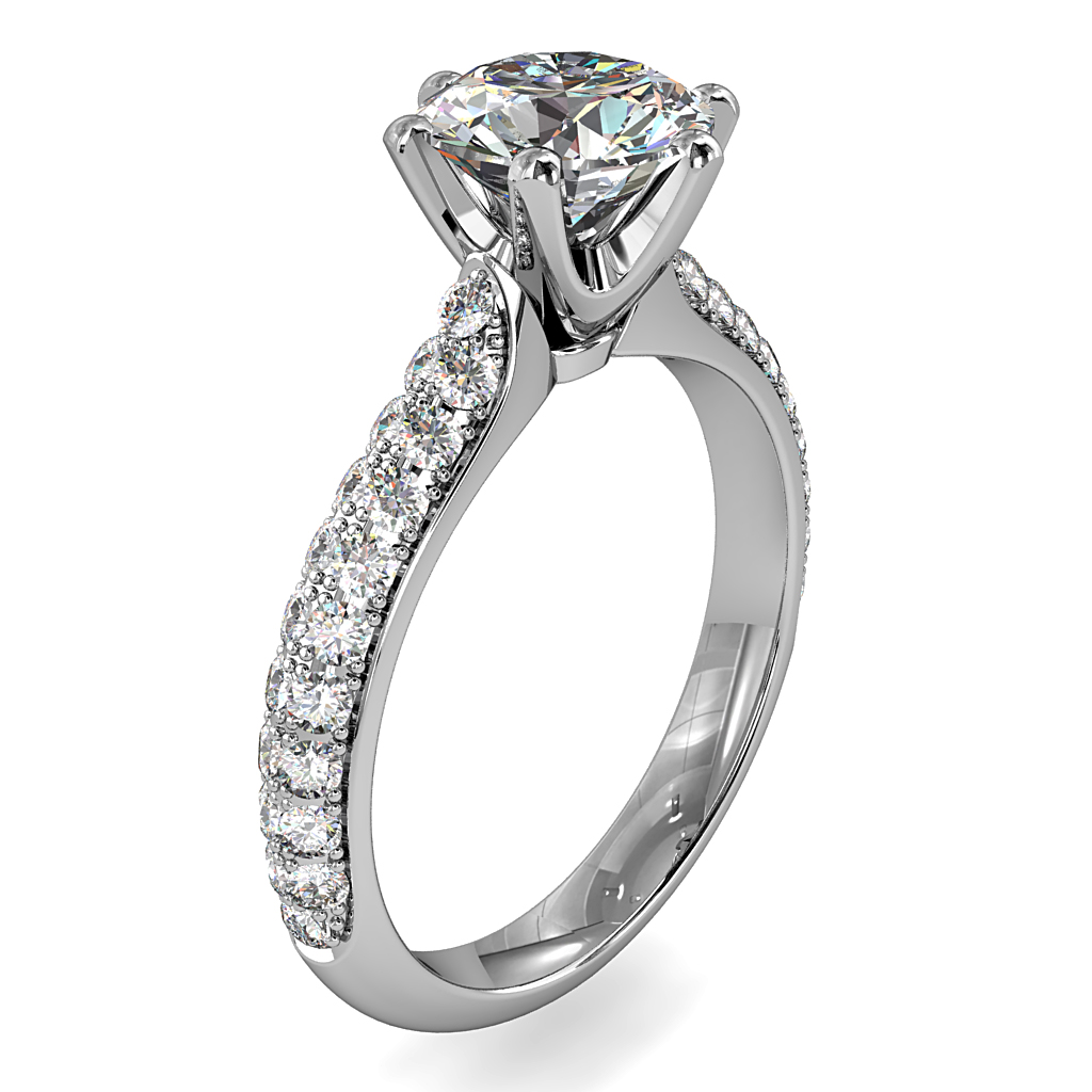 Round Brilliant Cut Solitaire Diamond Engagement Ring, 6 Button Claws Set on Two Row Pavé Band with Classic Undersetting.