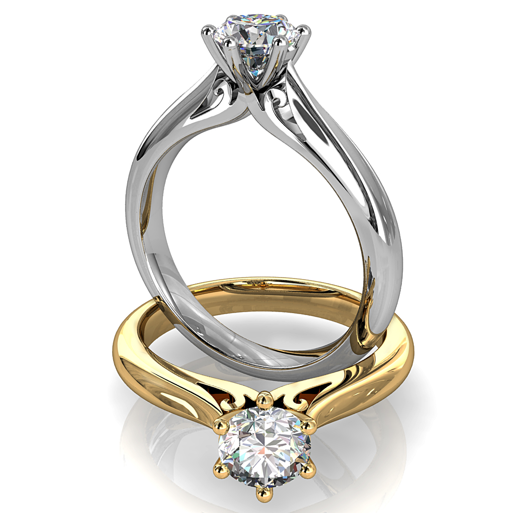 Round Brilliant Cut Solitaire Diamond Engagement Ring, 6 Button Claws on a Tapered Knife Edge and Rounded Band with Scroll Undersetting.