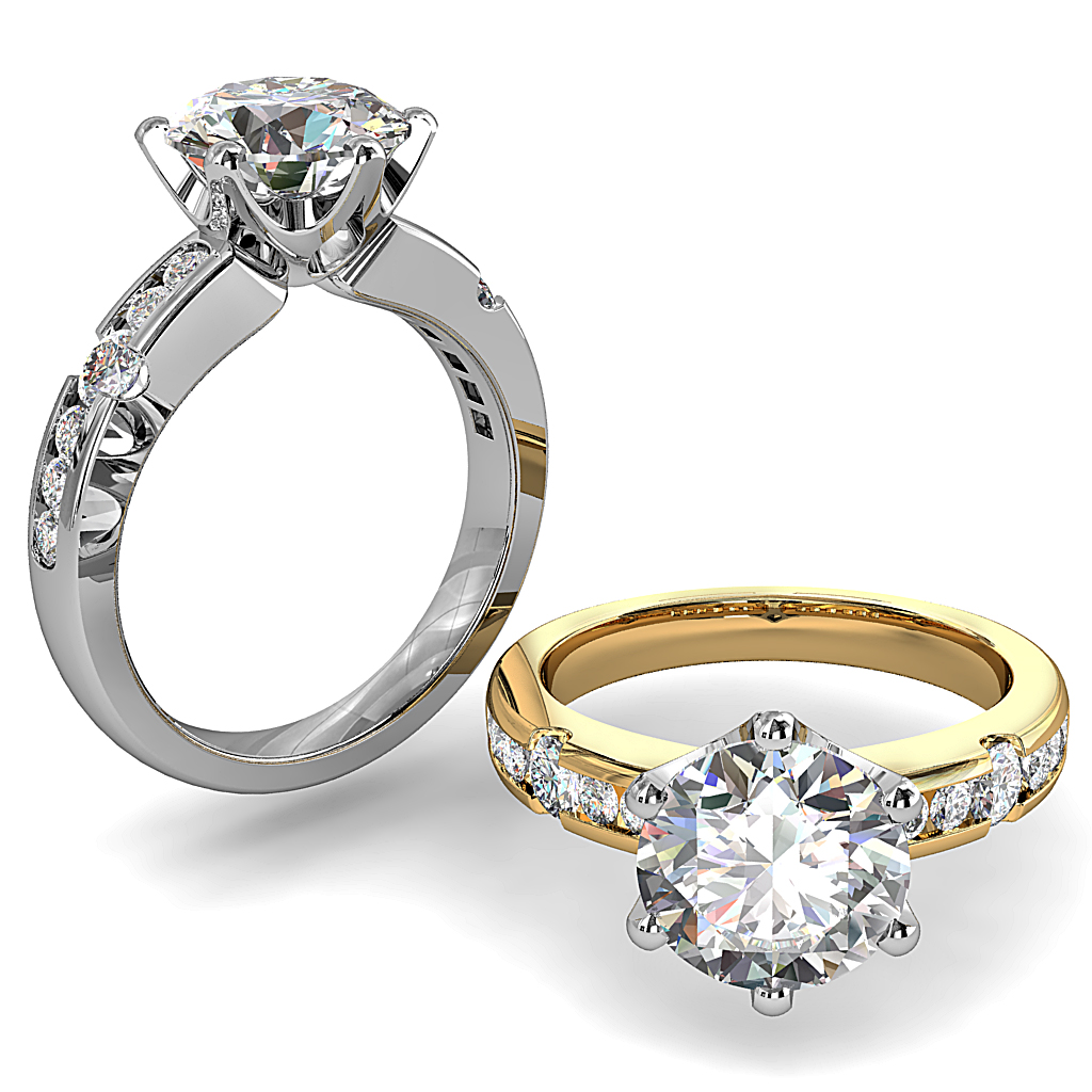 Round Brilliant Cut Solitaire Diamond Engagement Ring, 6 Button Claws Set on Channel Set Band with Larger Diamond Band Detail and Lotus Undersetting.