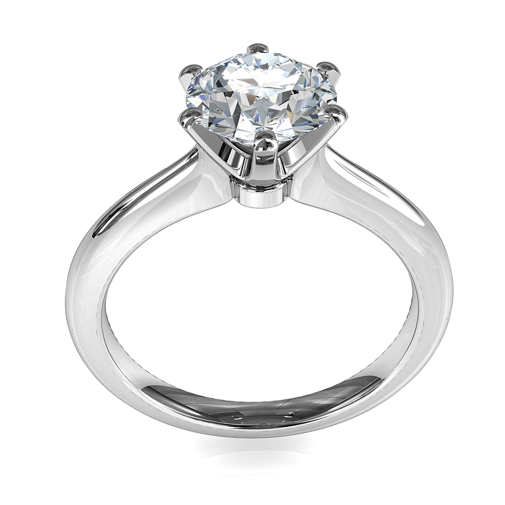 Round Brilliant Cut Solitaire Diamond Engagement Ring, 6 Button Claws Set on Rounded Thin Tapered Band with Low Classic Setting.
