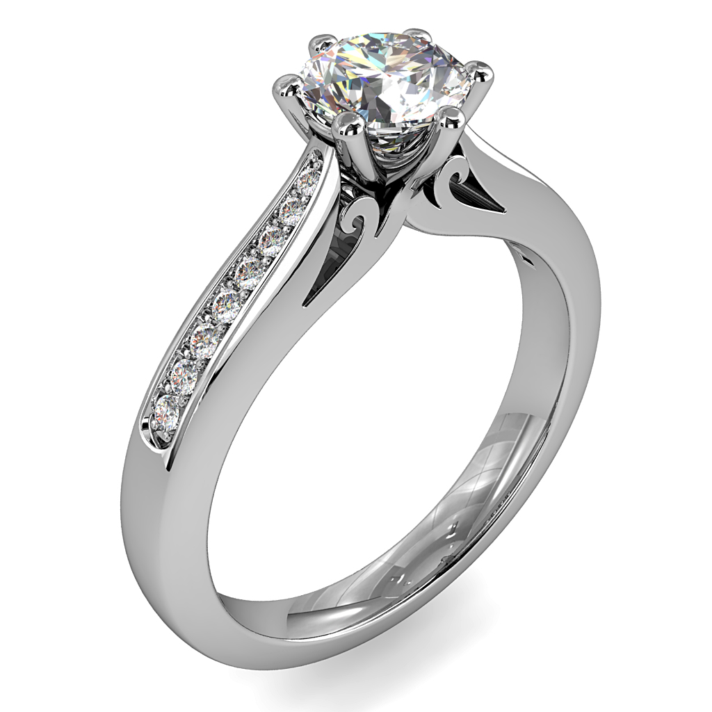 Round Brilliant Cut Solitaire Diamond Engagement Ring, 6 Button Claws Set on Tapering Bead Set Band with Scroll Detail Undersetting.