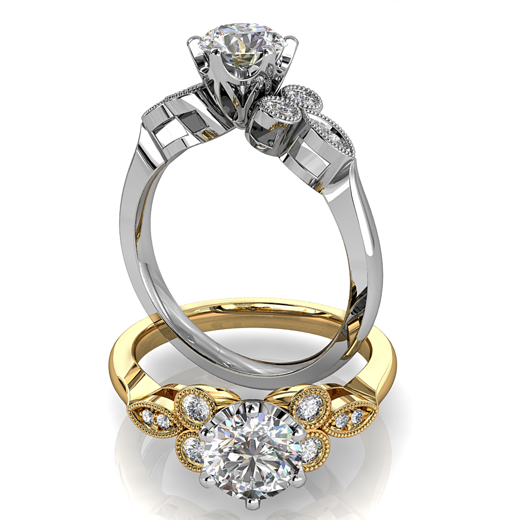 Round Brilliant Cut Solitaire Diamond Engagement Ring, 6 Button Claws Set on Tri-Leaf and Circle Milgrain Stone Set Band with Webbed Undersetting.