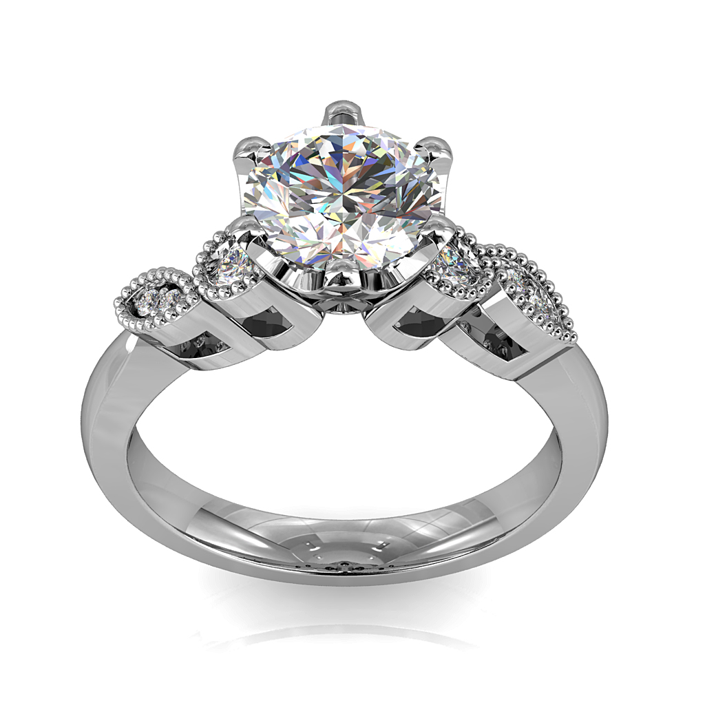 Round Brilliant Cut Solitaire Diamond Engagement Ring, 6 Fine Square Claws Set on Circle and Scalloped Milgrain Band with Webbed Undersetting.