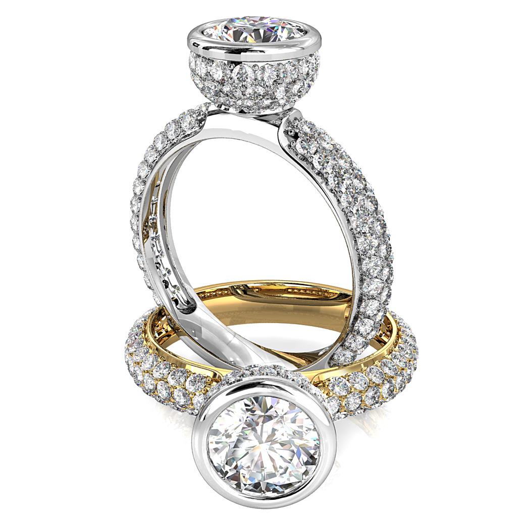 Round Brilliant Cut Diamond Solitaire Engagement Ring, Bezel Set in a Rolled Pave Cup Setting on a Rolled Pave Band.