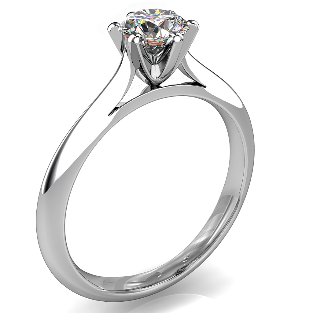 Round Brilliant Cut Solitaire Diamond Engagement Ring, 6 Fine Button Claws Set on Thin Tapering Knife Edge Band with Classic Underrail Setting.