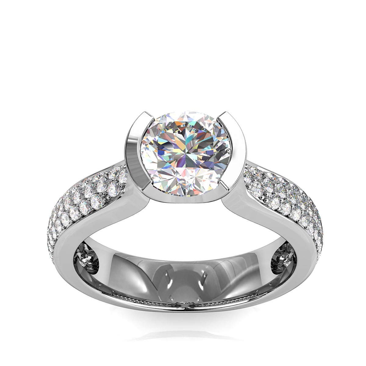 Round Brilliant Cut Diamond Solitaire Engagement Ring, Semi Bezel Tension Set on a Tapered Pave Band.