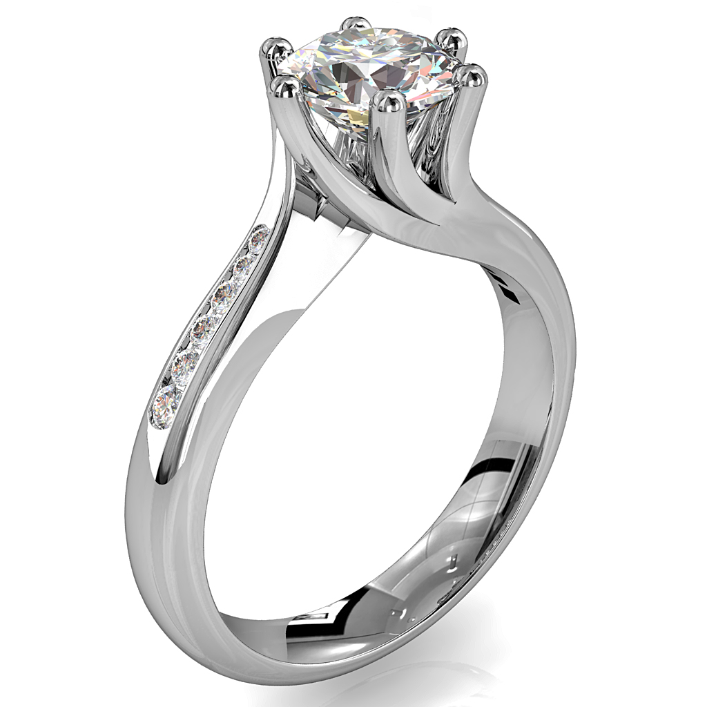 Round Brilliant Cut Solitaire Diamond Engagement Ring, 6 Offset Claws Set on Sweeping Channel Set Band with Twist Undersetting.