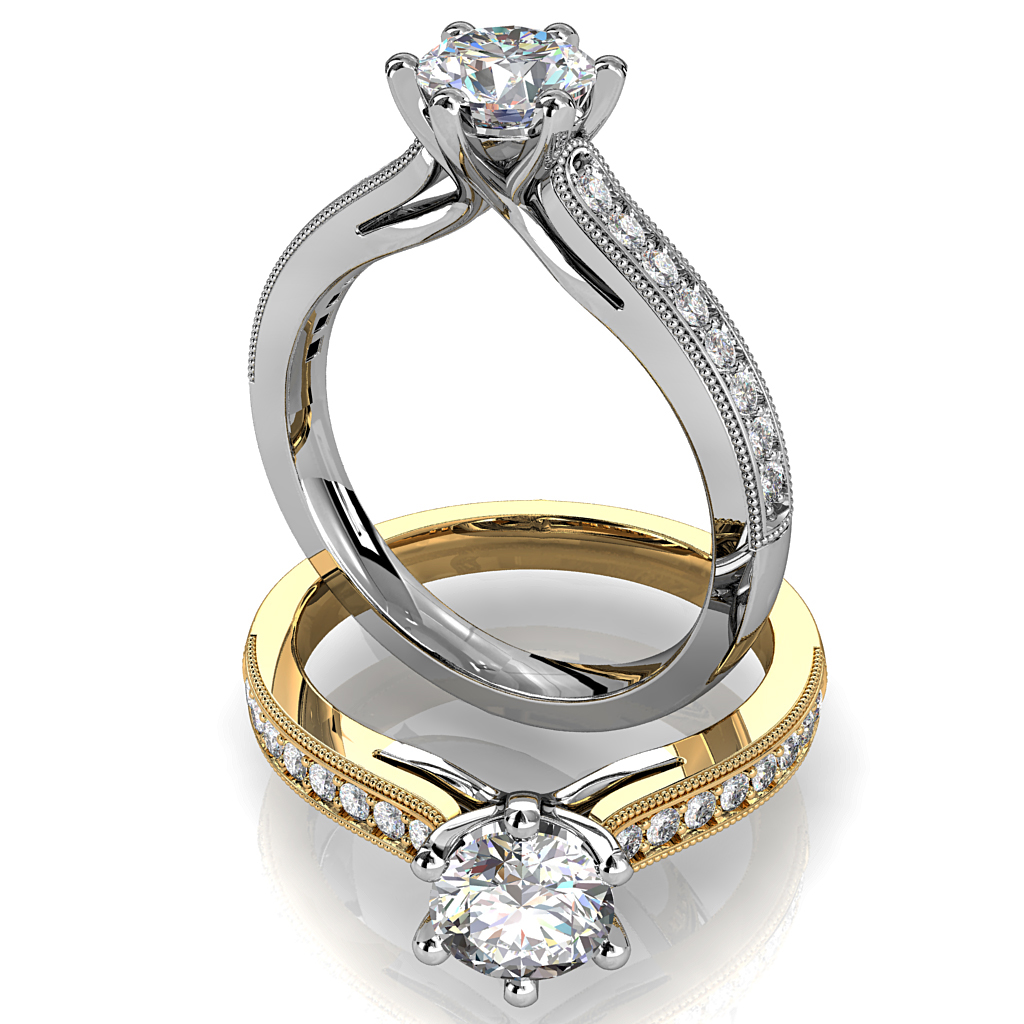 Round Brilliant Cut Solitaire Diamond Engagement Ring, 6 Button Claws Set on Straight Bead Set Band with Fountain Undersetting.