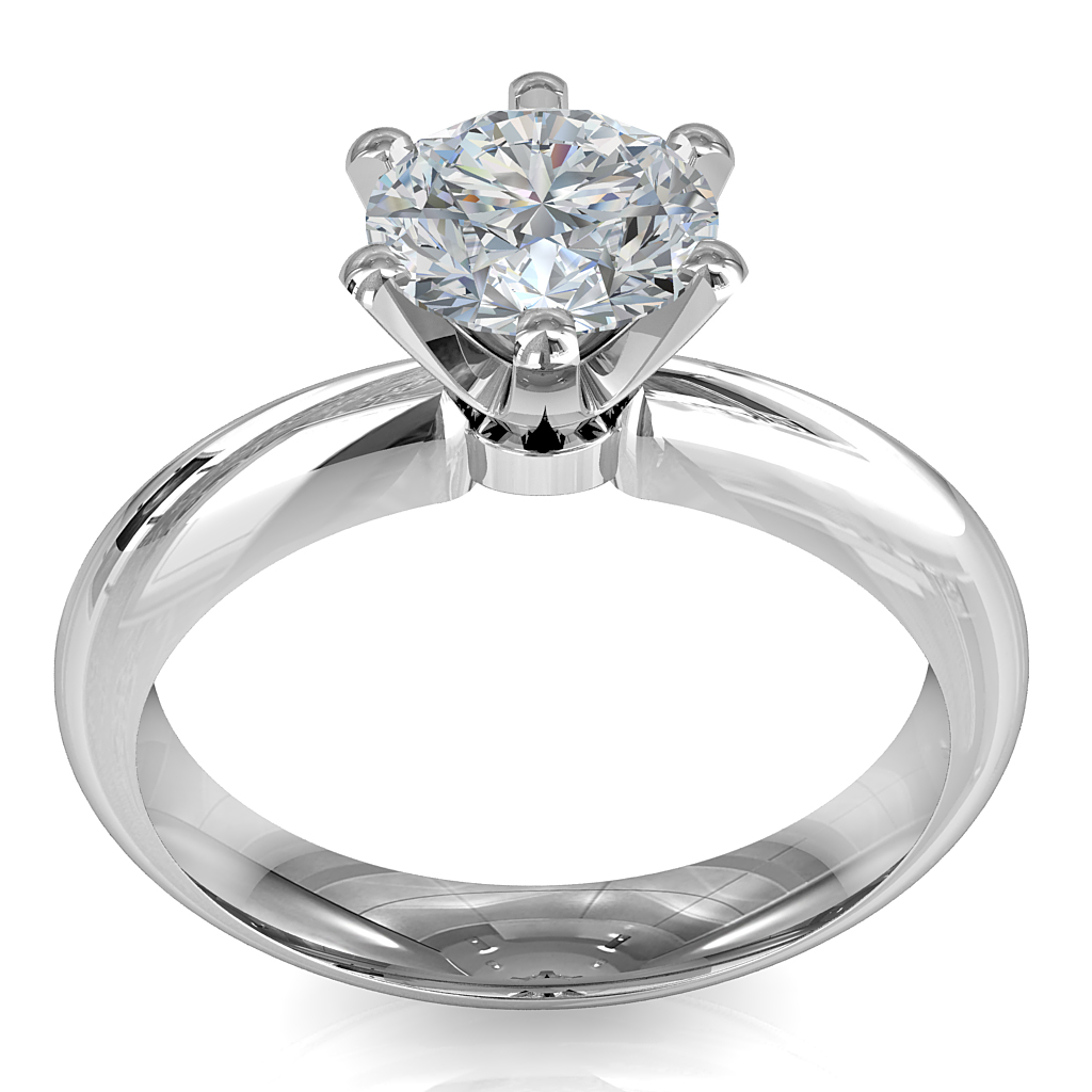 Round Brilliant Cut Solitaire Diamond Engagement Ring, 6 Fine Square Claws Set on a Wide Rounded Pinched Band with Crown Undersetting.