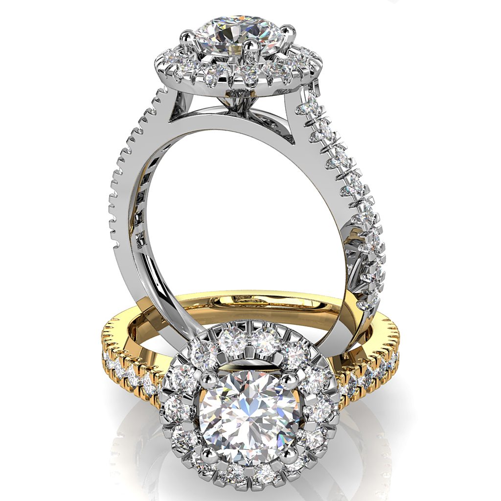 Round Brilliant Cut Halo Diamond Engagement Ring, 4 Button Claws Set in a Large Double Cut Claw Halo with Double Cut Claw Band with a V Undersetting.