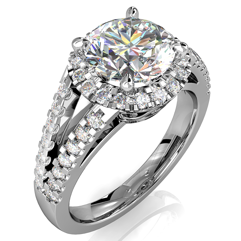 Round Brilliant Cut Diamond Halo Engagement Ring, 4 Pear Shaped Claws Set in a Cut Claw Halo on a Split Cut Claw Band with Filigree Undersetting.