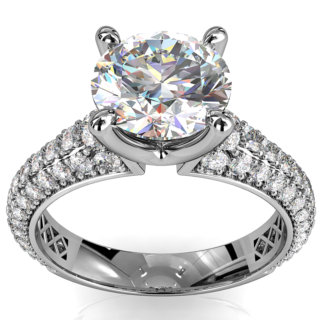 Round Brilliant Cut Solitaire Diamond Engagement Ring, 4 Pear Shape Claws Set on High Dome Pavé Band with Classic Undersetting.
