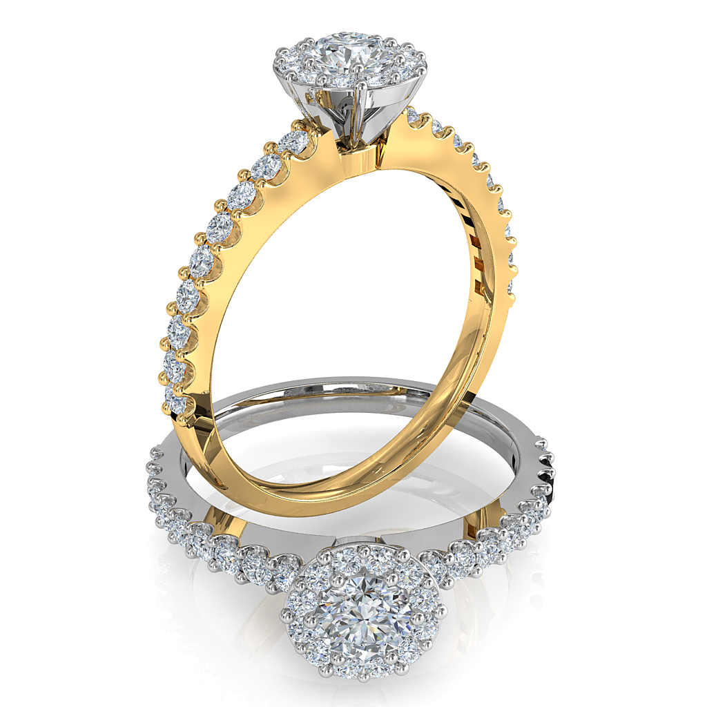 Round Brilliant Cut Diamond Halo Engagement Ring, 8 Claws Set in an Illusion Halo on a Heavy Cut Claw Band with Basket Undersetting.