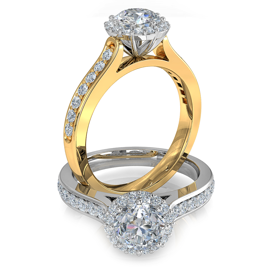 Round Brilliant Cut Diamond Halo Engagement Ring, 8 Claws Set in an Illusion Halo on a Bead Set Band with Wire Undersetting.