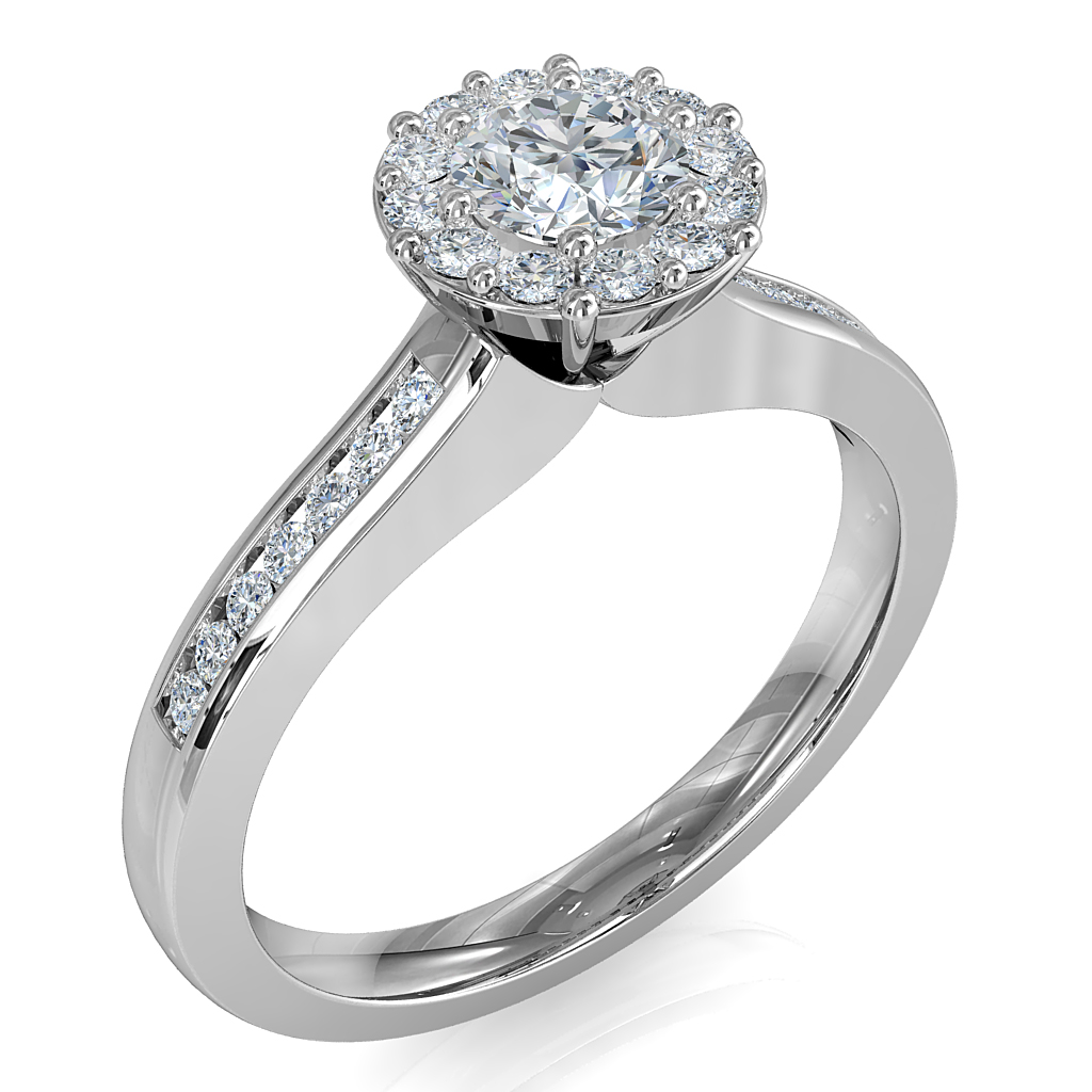 Round Brilliant Cut Diamond Halo Engagement Ring, 8 Claws Set in an Illusion Halo on a Princess Cut Channel Set Shoulders with Wire Basket Undersetting.