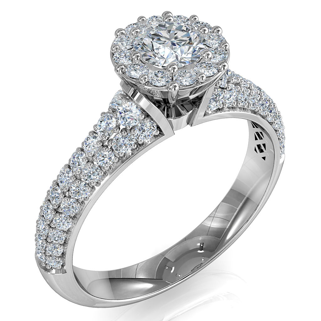 Round Brilliant Cut Diamond Halo Engagement Ring, 8 Claws Set in an Illusion Halo on a Pave Band with Wire basket Undersetting.