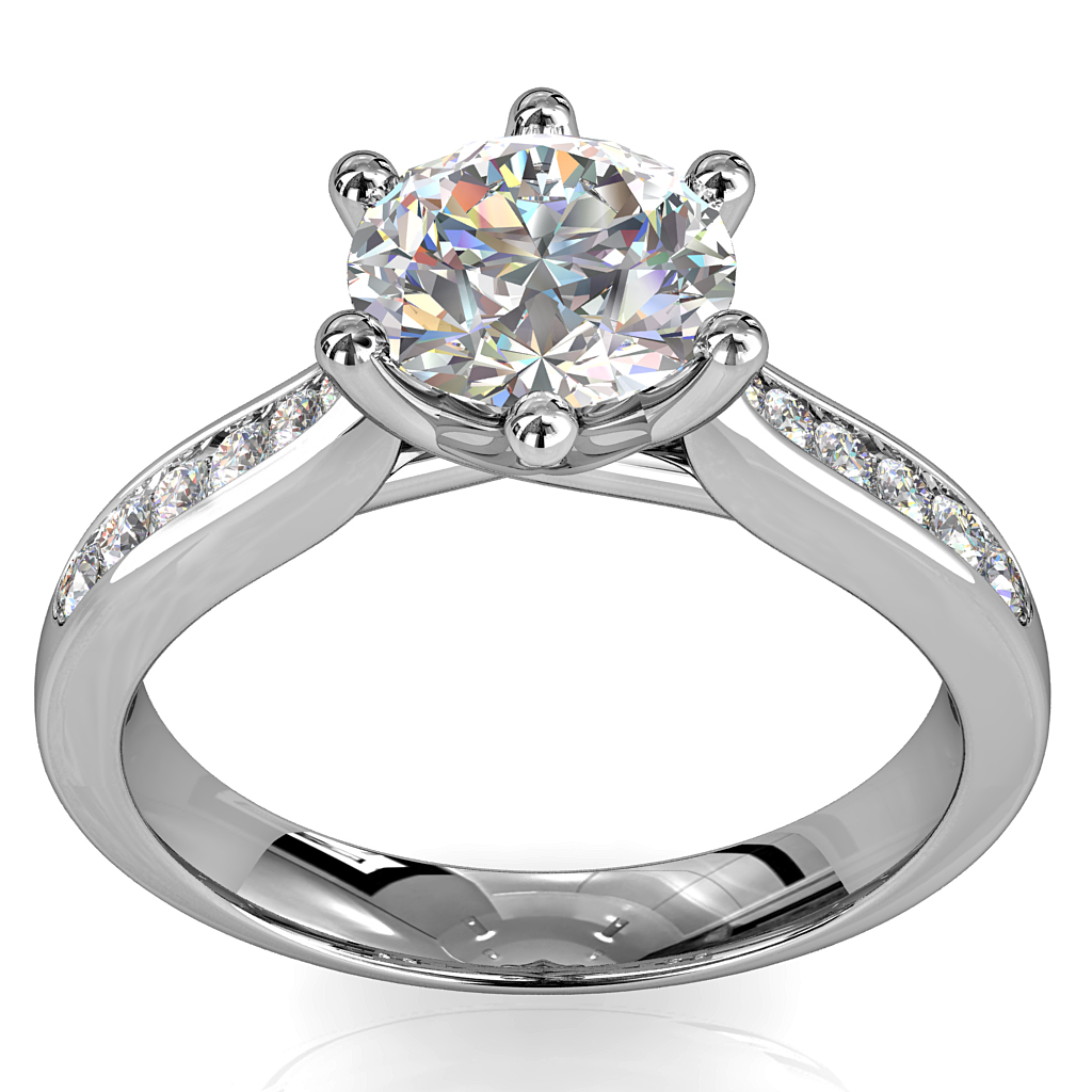 Round Brilliant Cut Solitaire Diamond Engagement Ring, 6 Button Claws Set on Tapered Channel set Band with Weave Undersetting.